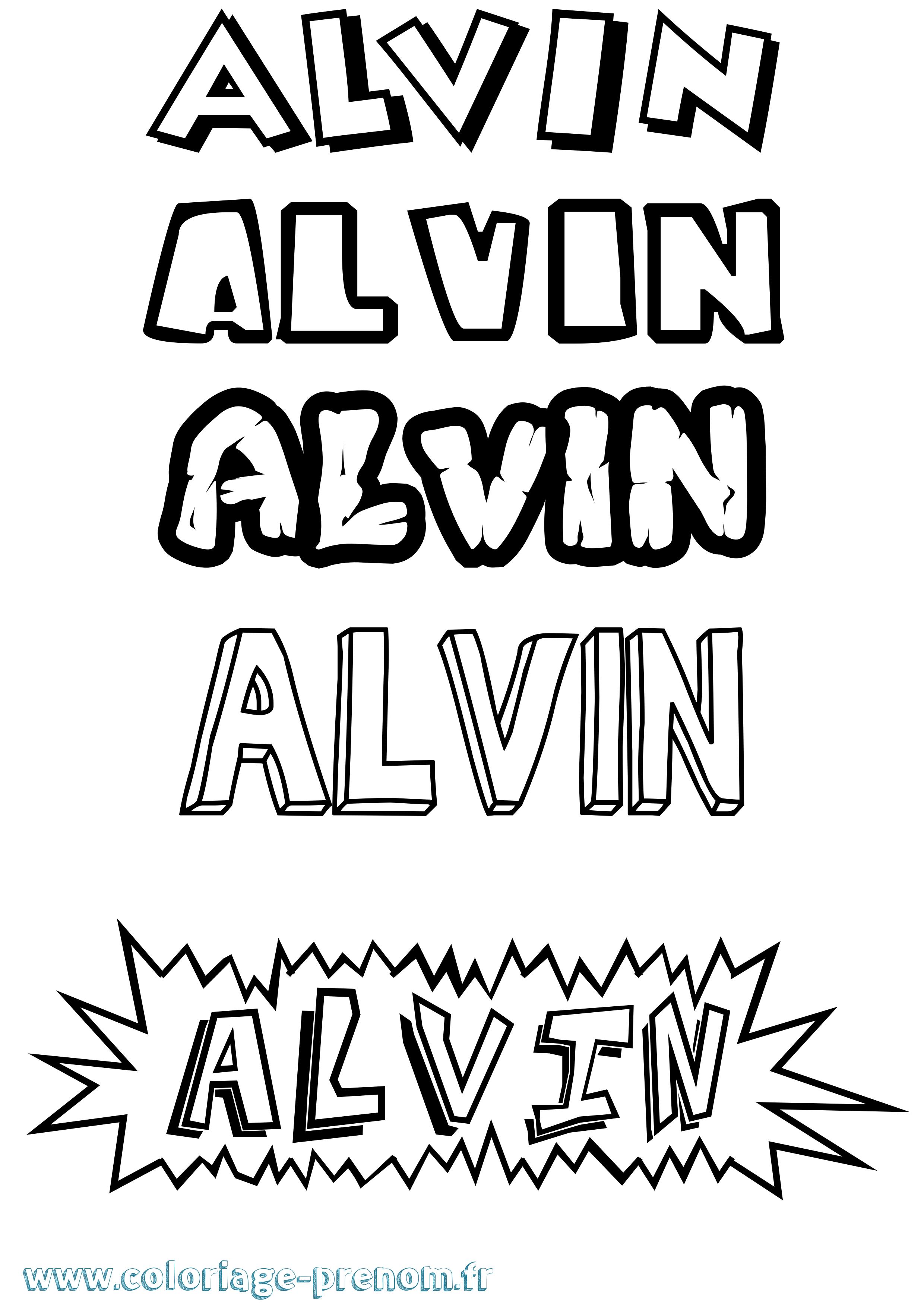 Coloriage du prénom Alvin : à Imprimer ou Télécharger ...