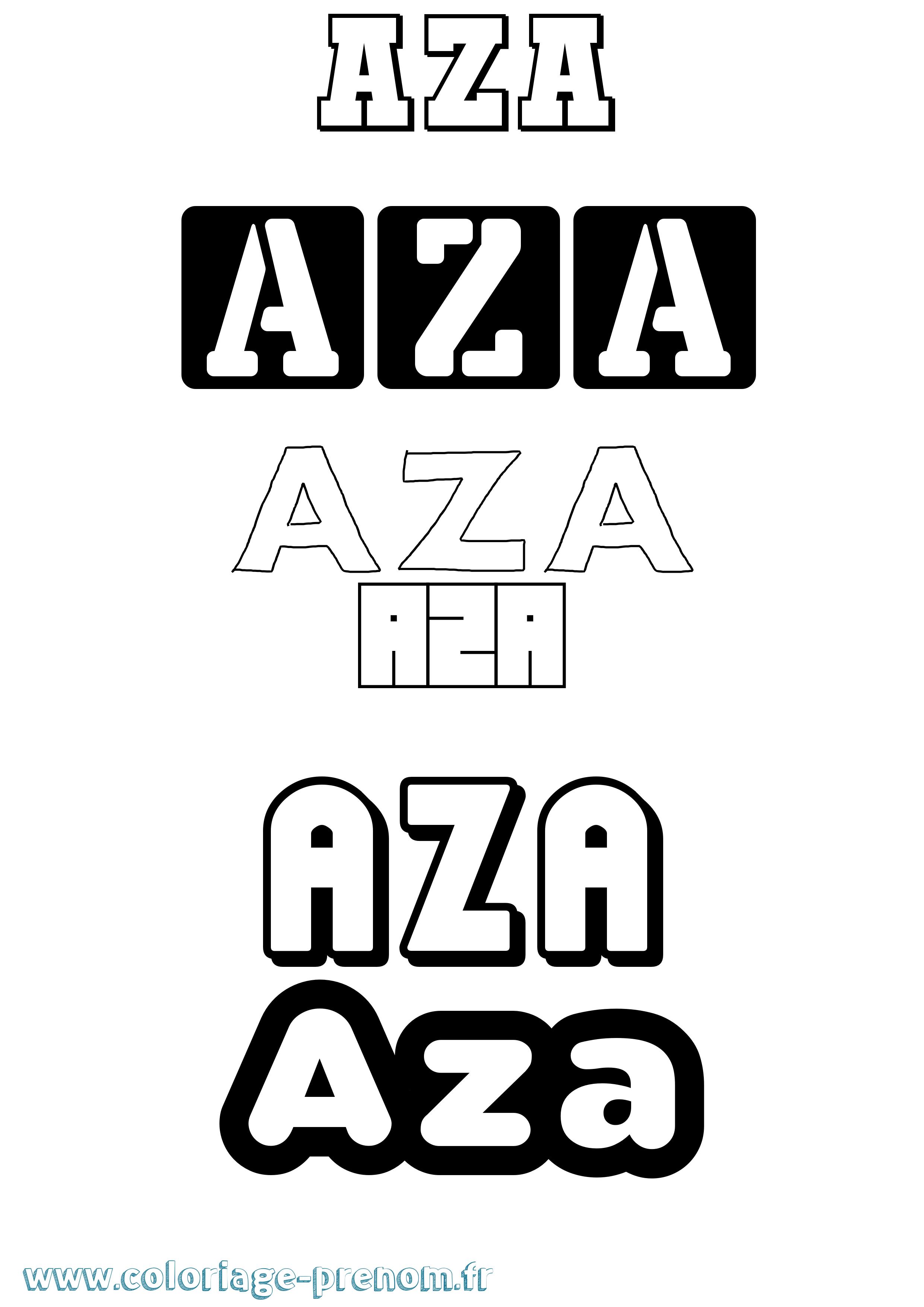 coloriage du prénom aza : à imprimer ou télécharger facilement