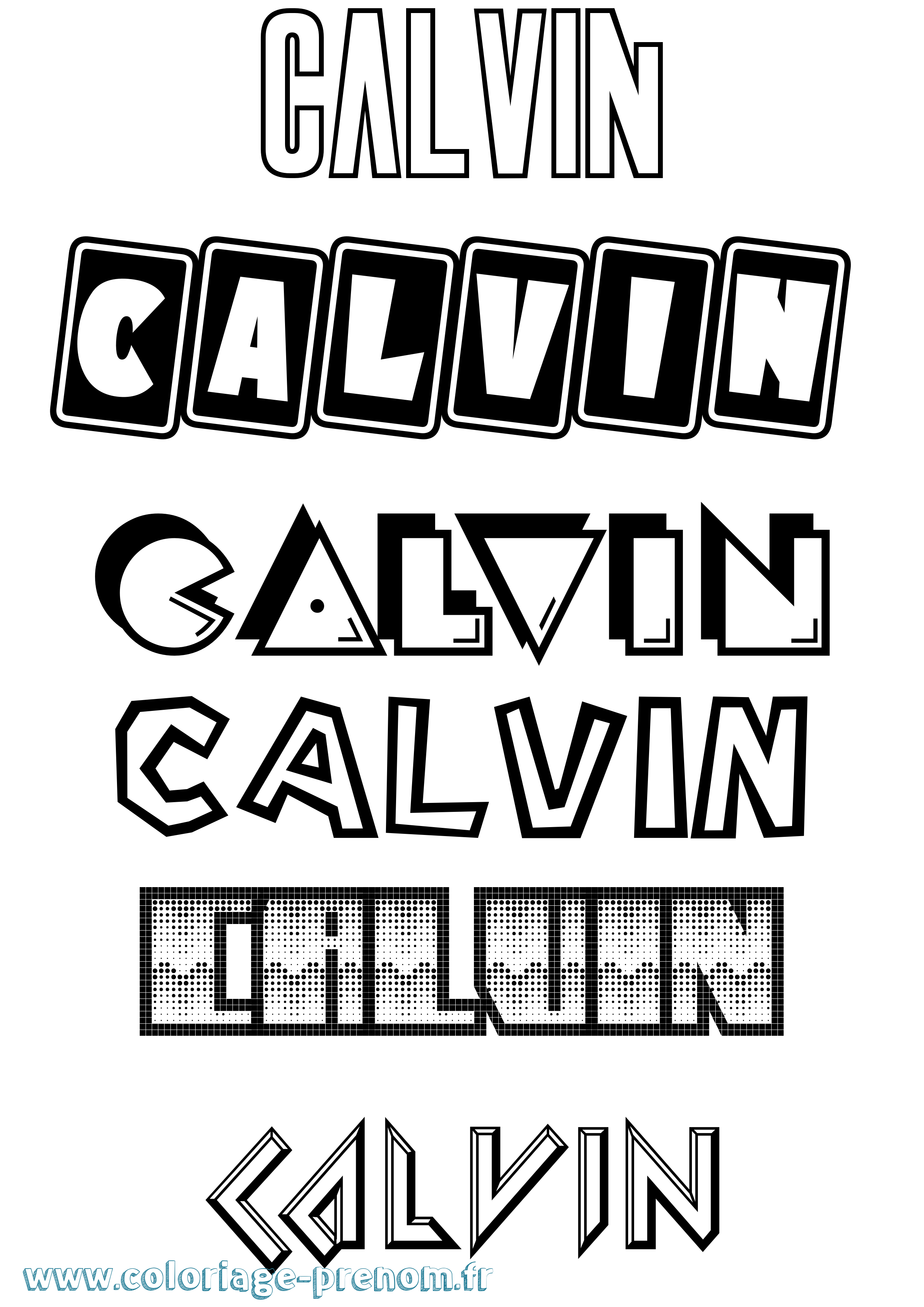Coloriage du prénom Calvin : à Imprimer ou Télécharger facilement
