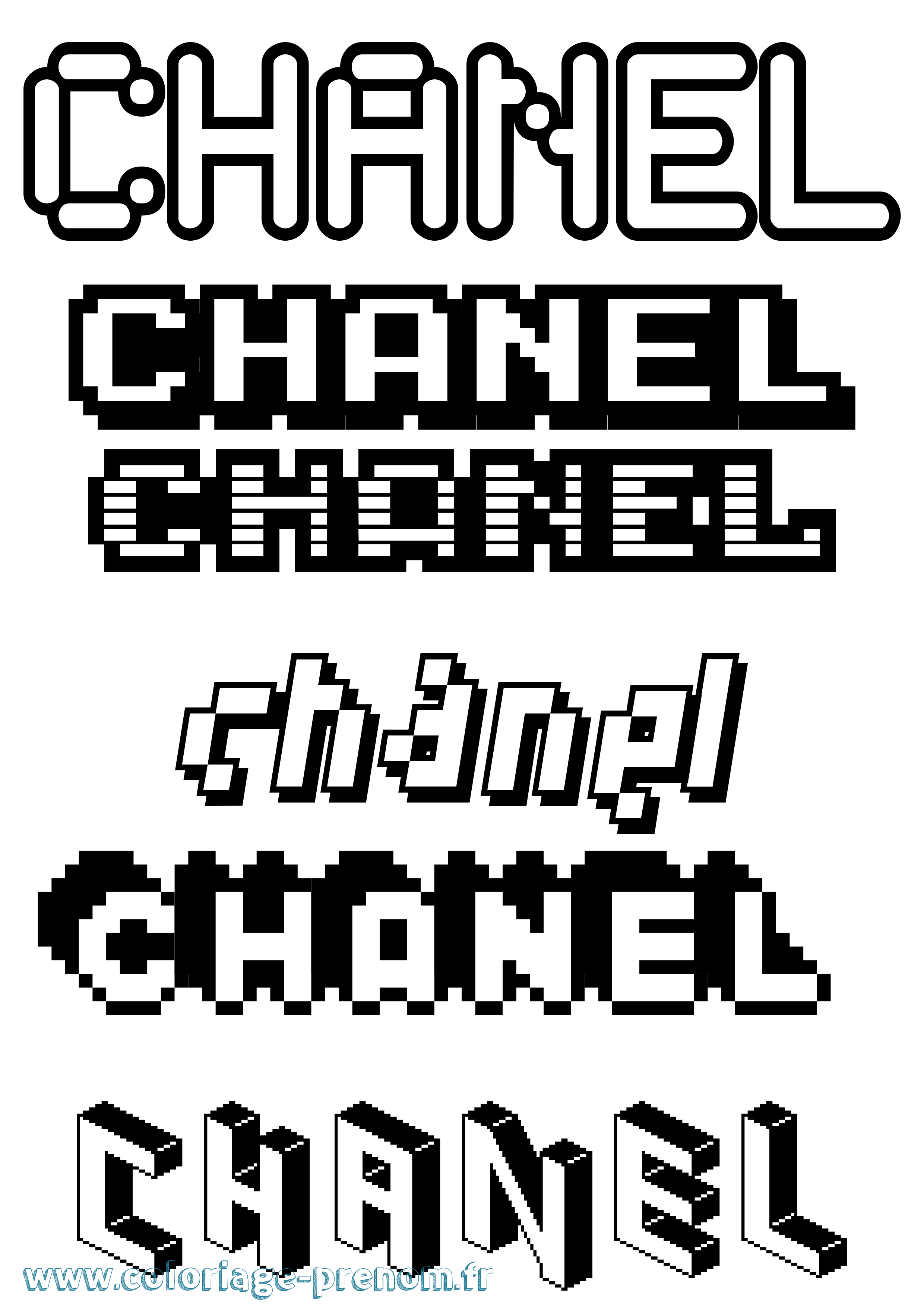 Coloriage du prénom Chanel : à Imprimer ou Télécharger ...