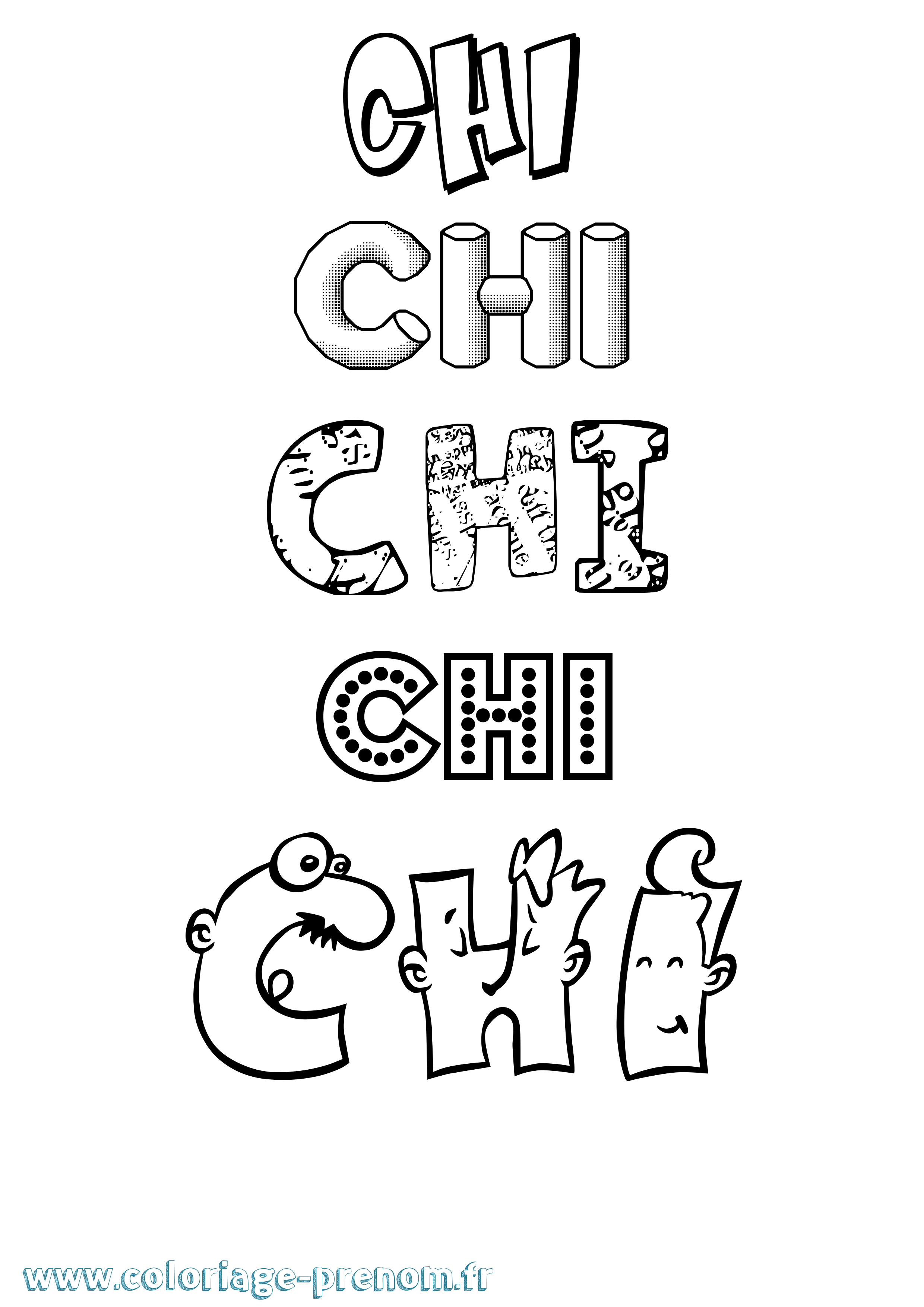 Coloriage du prénom Chi : à Imprimer ou Télécharger facilement