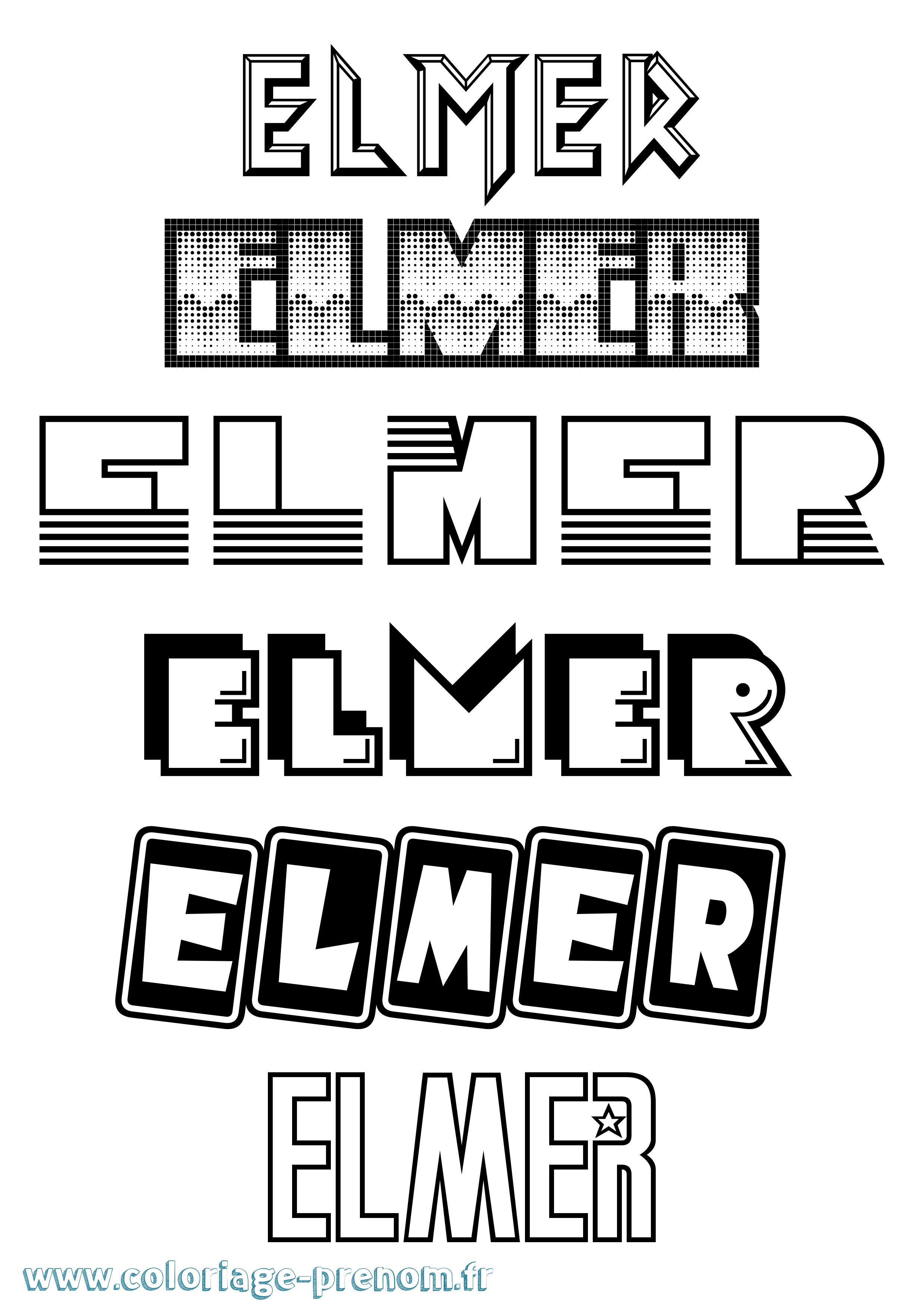 Coloriage du prénom Elmer : à Imprimer ou Télécharger facilement