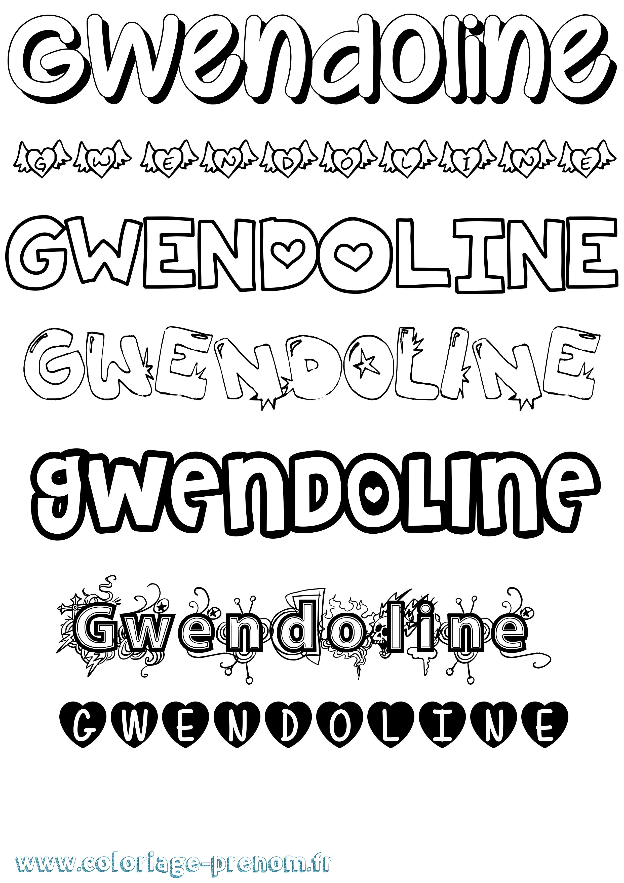 Coloriage du prénom Gwendoline : à Imprimer ou Télécharger ...