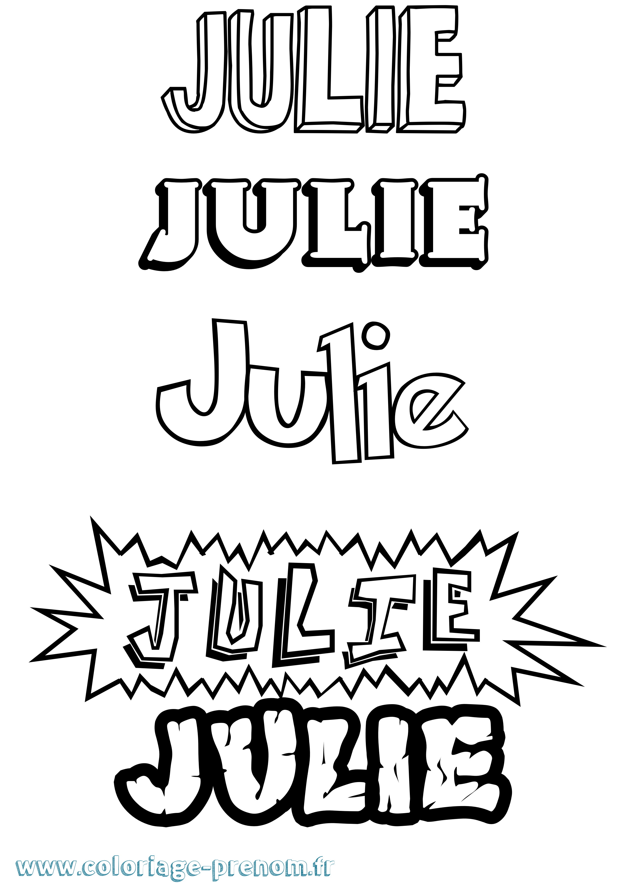 Coloriage du pr nom julie imprimer ou t l charger facilement - Prenom a imprimer ...