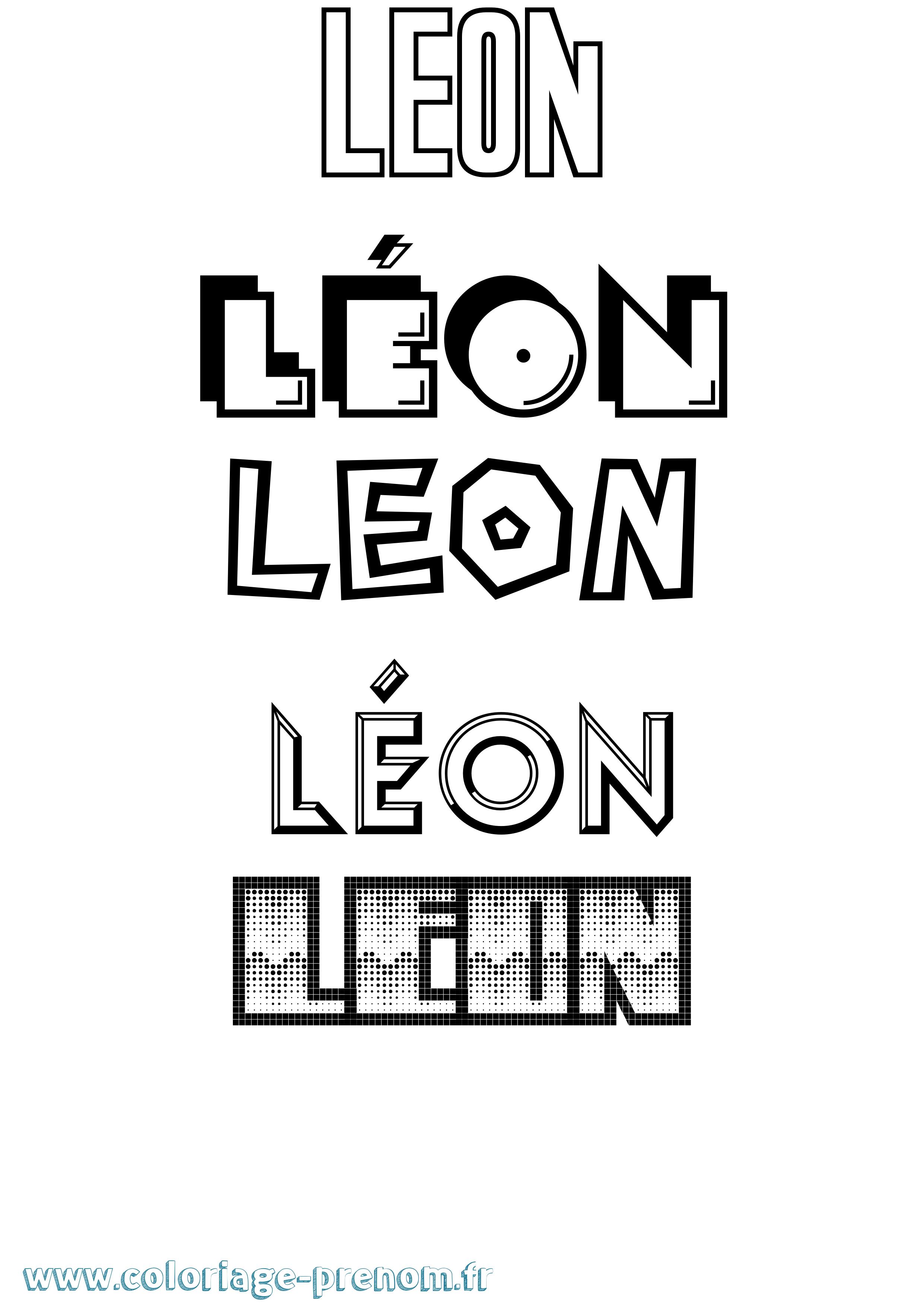 Coloriage du prénom Léon : à Imprimer ou Télécharger ...