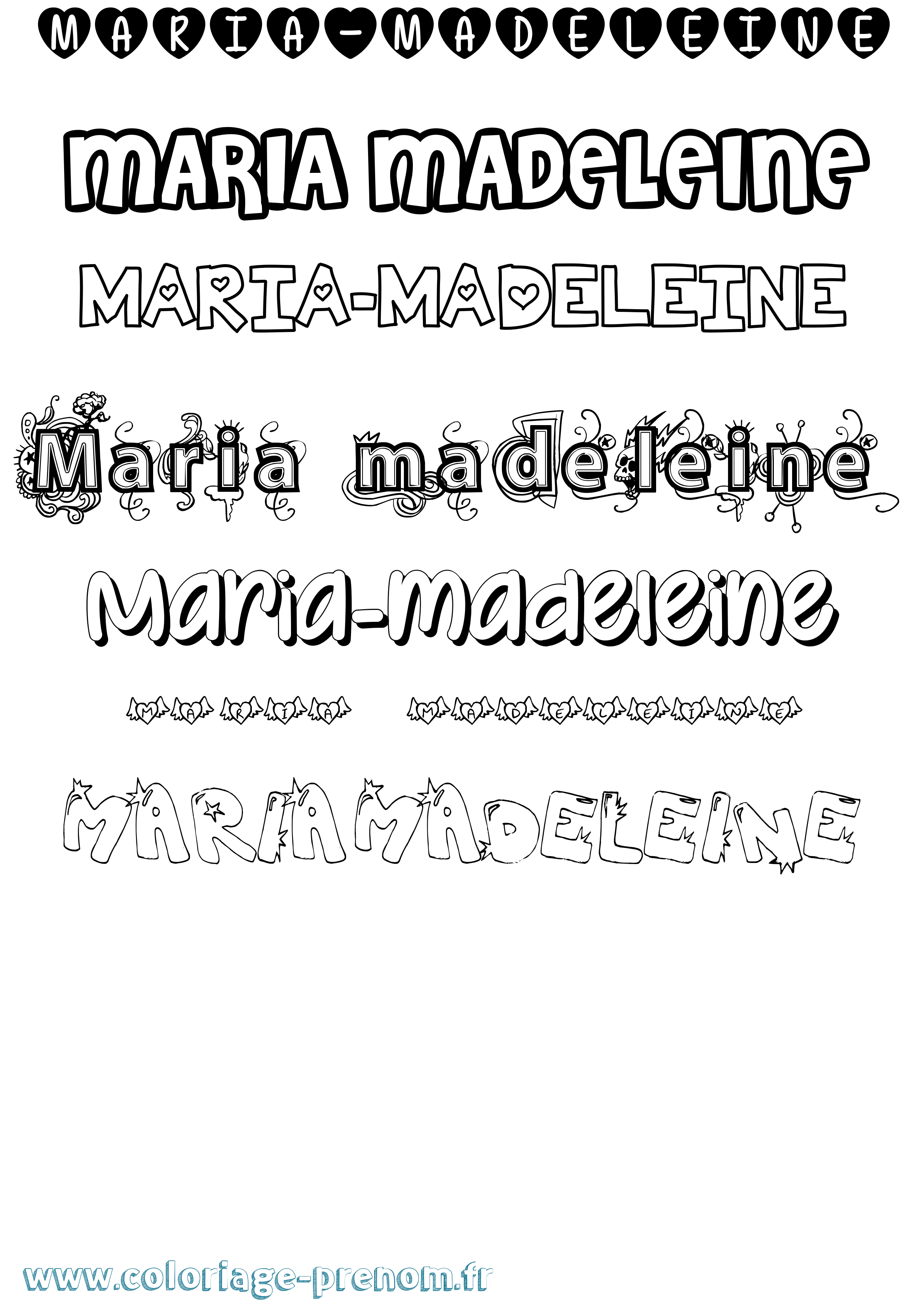 Coloriage du prénom Maria-madeleine : à Imprimer ou ...