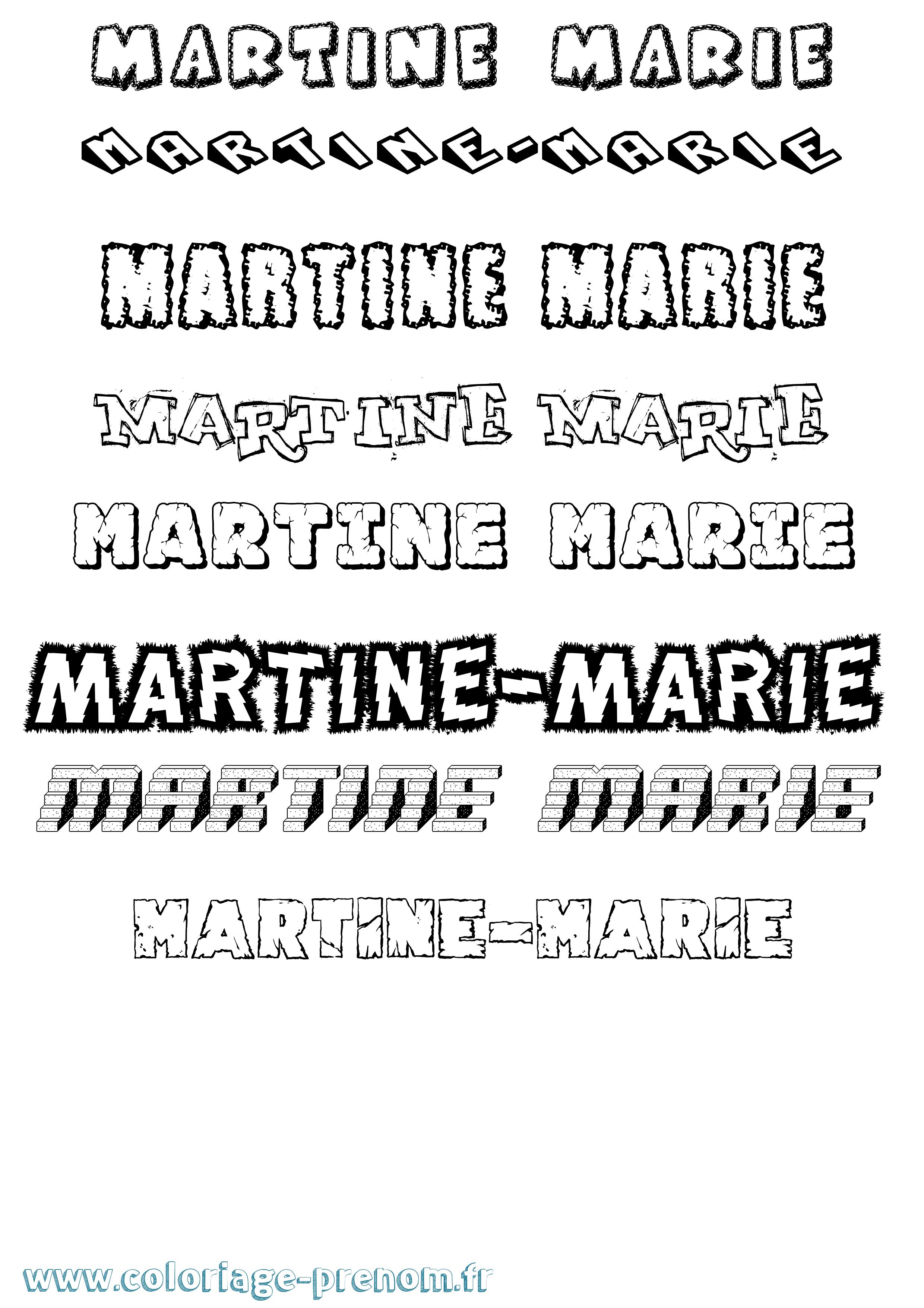 Coloriage du prénom Martine-marie : à Imprimer ou ...