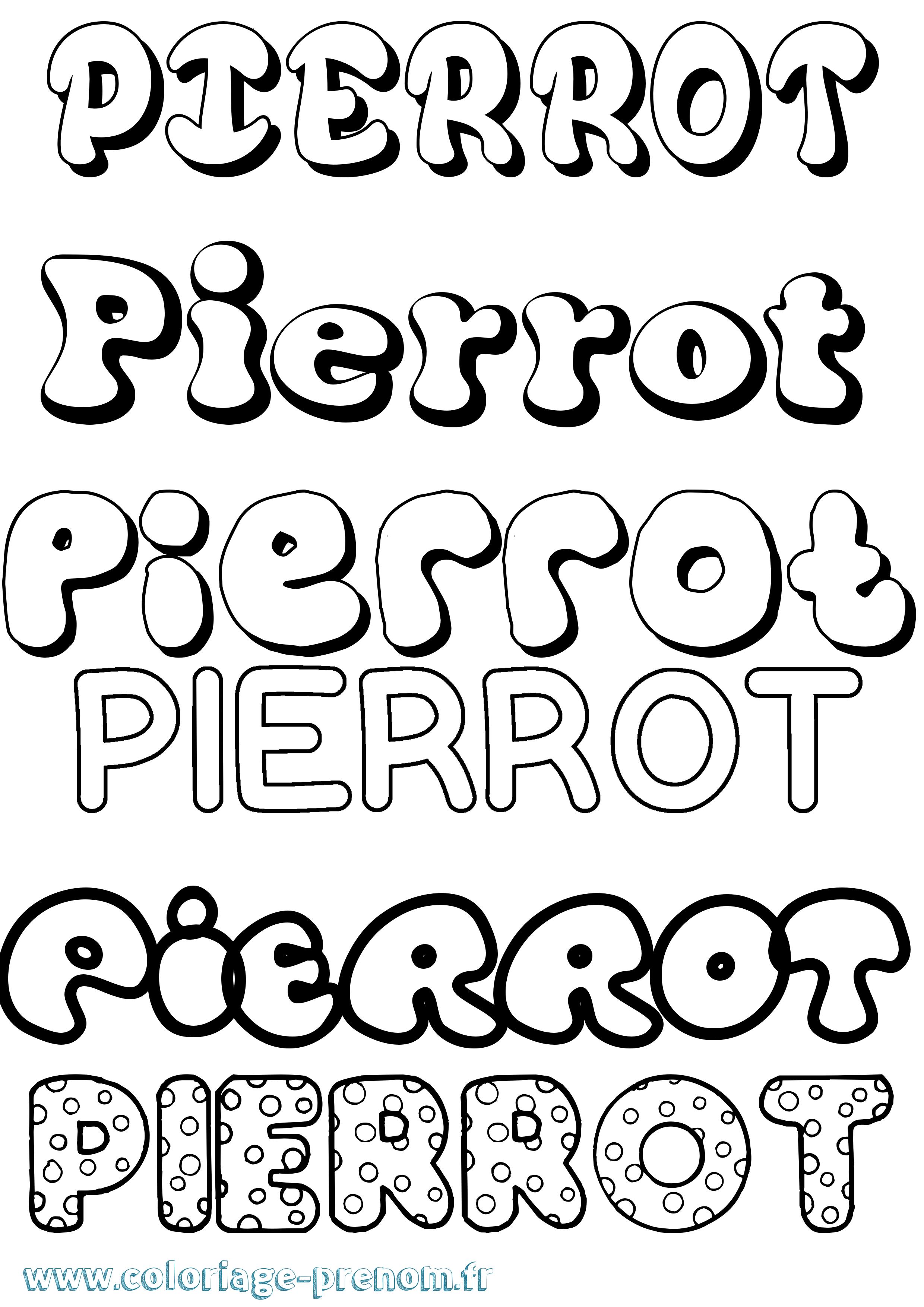 Coloriage du pr nom pierrot imprimer ou t l charger facilement - Coloriage pierrot ...