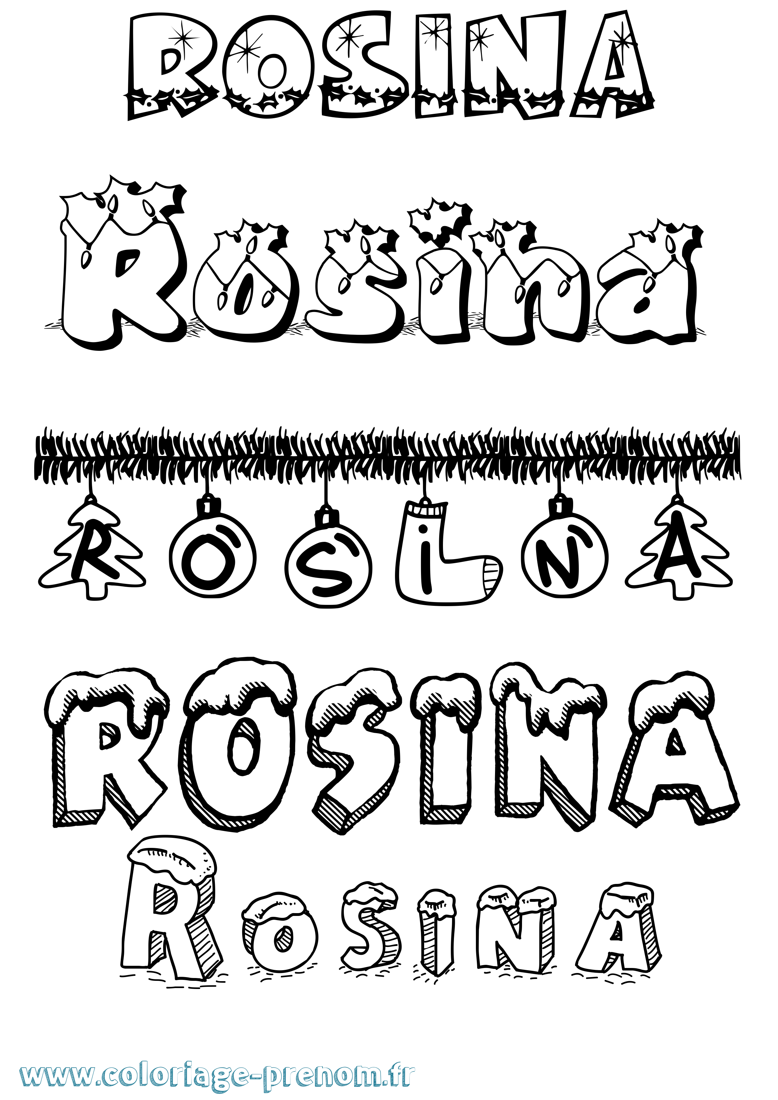Coloriage du prénom Rosina : à Imprimer ou Télécharger ...
