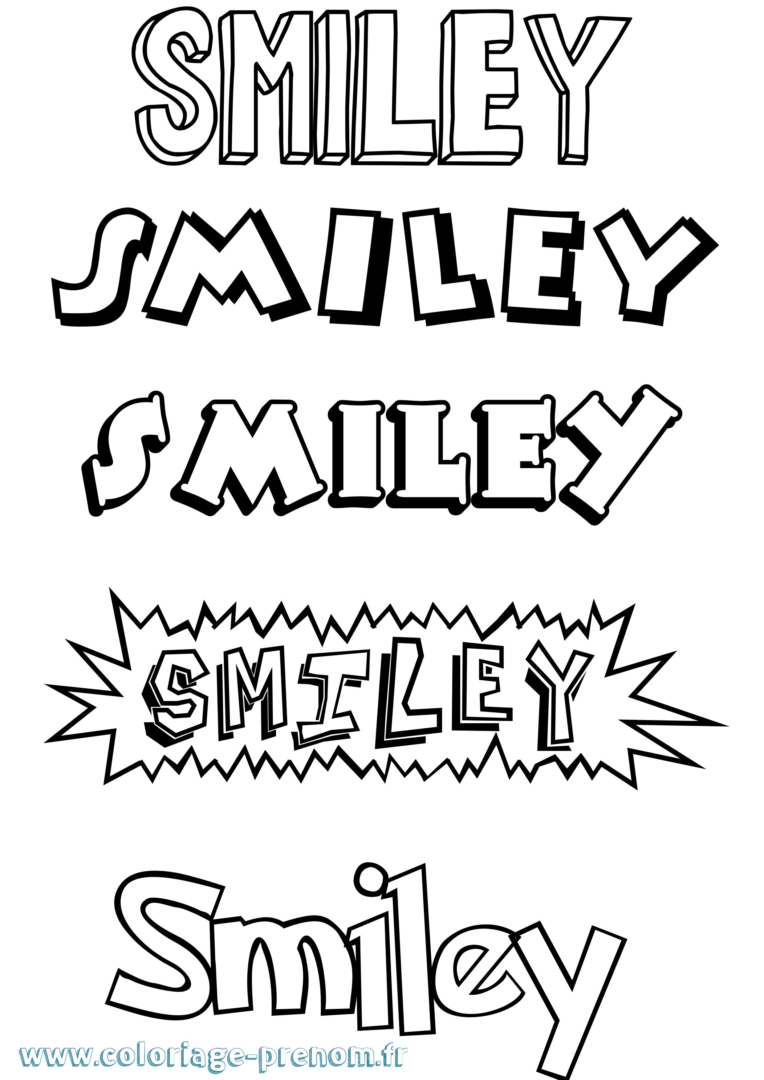 Coloriage du pr nom smiley imprimer ou t l charger facilement - Dessins de smiley ...